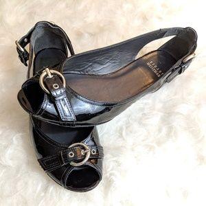 Stuart Weitzman Black Peep Toe Flats - Size 6